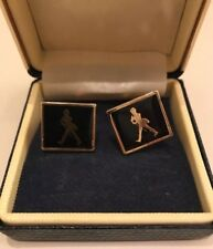 Vintage Black And Gold Cufflinks Spanish army soldier