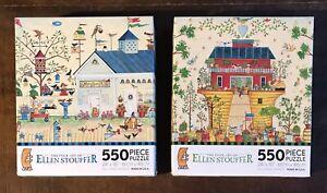 Ceaco - Ellen Stouffer - LOT OF TWO NEW SEALED 550 Piece Jigsaw Puzzles Folk Art