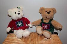 Hallmark Kiss Kiss Plush Bears Magnetic Christmas Lot of 2 Stuffed Teddy Animal