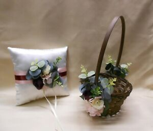 Wicker Flower Girl Basket Pillow Eucalyptus Dusty Pink Blush Burgundy Your Color