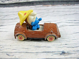 Smurfs Ertl Log 1982 Car Smurf About Wood Mushroom Diecast Vehicle Vintage Toy