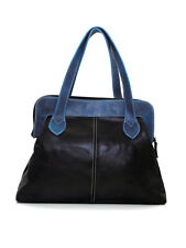 BLACK & BLUE TWO TONE LEATHER LARGE VICKY BAG RETRO VINTAGE INSPIRED - Yo Reinar
