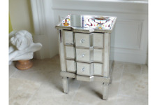 ANTIQUE SILVER MIRRORED GLASS BEDSIDE LAMP SIDE TABLE CABINET DRAWERS (DX3694)