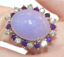 18.55TCW BIG Lavender Jade & Large Diamonds Amethysts Halo 14k Ring