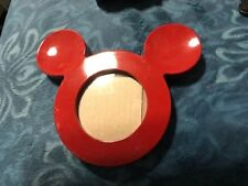 "Disney Mickey Mouse Icon Head Red Photo Picture Frame Theme Parks 3"" Round Photo"