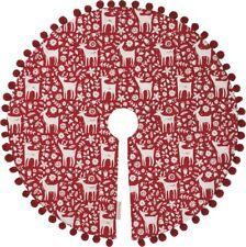 """Scandinavian Reindeer CHRISTMAS TREE SKIRT, 24"""" Diameter, Primitives by Kathy"""