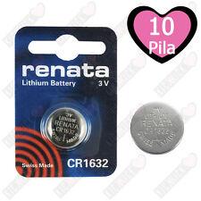 10 Pz. CR1632 Renata Batteria, Cella Singola,Pila al Litio, 137 mAh, 3 V