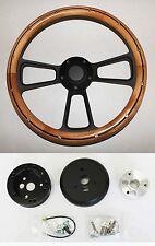 "Bronco F100 F250 F350 Steering Wheel Alder Wood on Black Spokes 14"" Plain Cap"