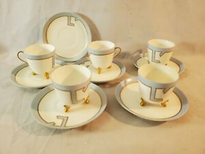 Art Deco Vintage Porcelain Set 5 Demitasse Cups Saucers Limoges France NR
