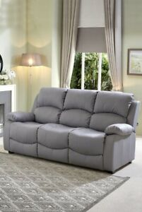 New Banbury Faux Leather 3 Seater Sofa Luxury Lounge Living Room Grey Sofa