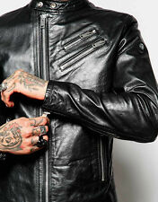 Diesel Black Leather Biker Jacket L-oyton XL Moto Perfecto Gold Style