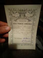 Ancienne Etiquette de remise de prix pour Livre Ecolier de la Ville De LYON 1904