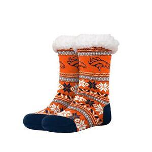 Denver Broncos Women's Fair Aisle Tall Logo Footy Slippers Size 6-10 Non Skid