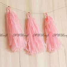 Tassels Garland Tissue Paper Bunting Wedding Birthday Party Baby Shower Décor Rose Pink