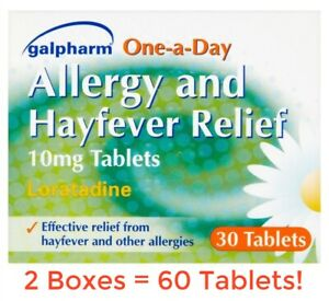 60 HAYFEVER & ALLERGY RELIEF TABLETS - LORATADINE 10mg - URTICARIA, ITCHY RASH