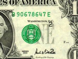 (( ERROR )) $1 2001 Federal Reserve Note (( MISALIGNED)) BLUE INK DAILY AUCTIONS