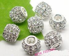 30pcs Beautiful Silver metal Clear Crystal Rhinestone Big Hole Hollow DIY Beads