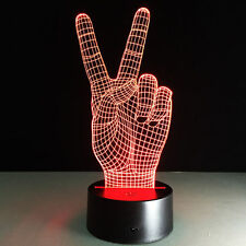 Night Light Acrylic Lamp LED Peace Sign V Victory Home Deco Touch Light Gift Hot