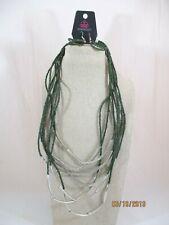 Green Seed Bead & Silver Tone Tube Bead 8 Row Necklace & Hook Earrings Set