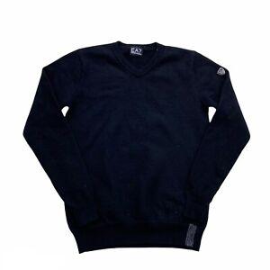 Ea7 Armani Sweater Kids Medium Black Wool Pullover Jumper Age 12-14