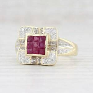 2.90 Ct Ruby & Diamond Cluster Solitaire Unisex Band In 14K Yellow Gold Finish.