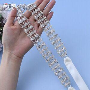 Handmade Crystal Chain Bridal Sash Rhinestone Belt for Wedding Bridesmaids Dress