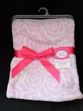 Luvable Friends Coral Pink Roses Fleece Baby Blanket NEW