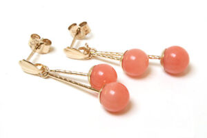 9ct Gold Coral drop Earrings 5mm double ball Gift Boxed Made in UK