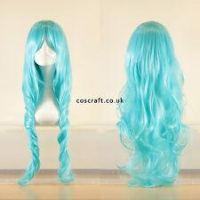 Rouleau long ondulés bouclés cosplay perruque de lumière bleu ciel, vendeur britannique, style Jeri