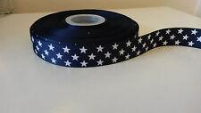 """1 yarda - 22mm (7/8 """") de ancho Navy/blue Blanco Patriótico Star de cinta de Grogrén impresión"""