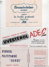 Lot de 3 Buvards : Médicaments. Crinex, Uvéstérol Adec, Bromésérine (67/23).