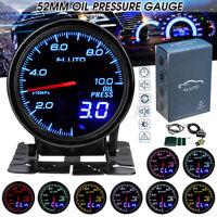 "2"" 52mm Digital & Pointer 10 Color LED 0-10 x100kpa Oil Pressure Gauge Meter **"