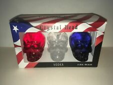 EMPTY Crystal Head Vodka Skull Bottle USA RED WHITE BLUE HALLOWEEN 3 Pack