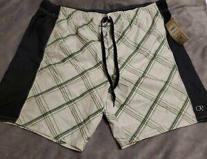 OP Big Mens 3X (48-50) Lined Swim Trunks Pockets Grey/Green/white NWT Drawstring