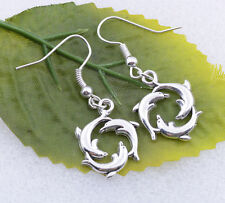 2pcs Vintage Tattoo Tibetan Silver Plated Earrings dolphin lovely 21X17mm #A6031