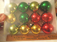 Christmas 12 multi color Medium balls tree ornaments green red gold silver