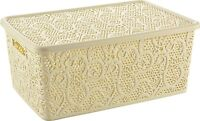 Plastic Hobby Box With Lid Lace Style Stackable Basket Container different sizes