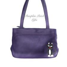 Purple Shoulder Bag Twin Handles Mala Leather Teddy Cat 787 82 30% OFF RRP £83