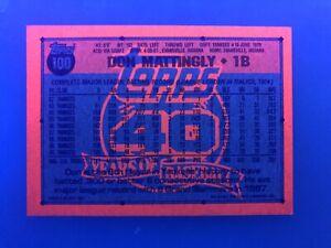 1991 Topps #100 DON MATTINGLY UV Blacklight Glow Back Bold Logo Yankees