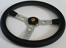 Momo Prototipo 350mm Steering Wheel Black Leather Silver Spoke Authentic