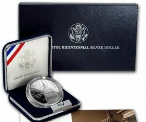 1994 US Capitol Bicentennial Silver Dollar PROOF US Mint w/ Boxes & COA