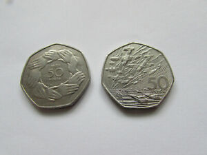 D Day Landings 50p Coin 1994 & 1973 EEC Ring OF Hands 50p FREE POST