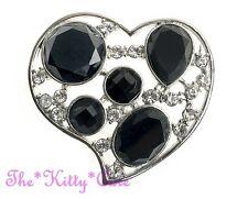 Look Black Glass Heart Brooch Pin Artisan Stylized Silver Crystal, Deco Vintage