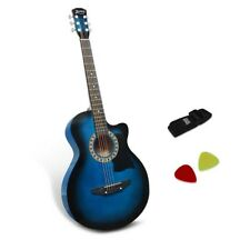 38�€ Inch Acoustic Guitar Wooden Folk Classical Cutaway Steel String Blue @HOT
