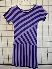 JUICY COUTURE GIRLS PURPLE STRIPED 100% COTTON SHORT SLEEVE DRESS SIZE 10