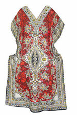 BOHEMIAN WOMENS BEACH COVER UP MAXI DRESS RED PRINTED NIGHTWEAR KIMONO KAFTAN