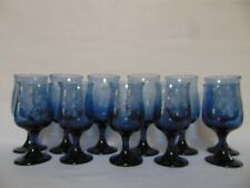 PFALTZGRAFF YORKTOWNE GLASSES - 11 GLASS SET - ETCHED BLUE GLASS - USA