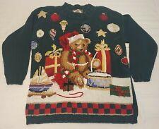 VTG Tiara International 1998 Women's Sz Medium Green Bear Knit Sweater M