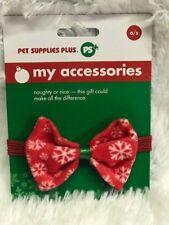 """Christmas Dog Collar Bow RED SNOWFLAKE  Pet Adjustable X-Small 6.5 - 9.5"""""""
