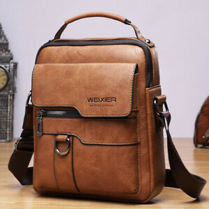 """Men's Business pu Leather Shoulder/Messenger Bag 8"""" Handbag Outdoor Sport Bag"""